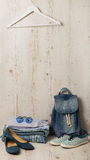 Denim fashion set - clothes, shoes and accessories. Stock Photo