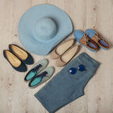 Denim fashion set - clothes, shoes and accessories. Stock Image