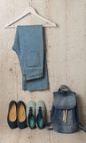 Denim fashion set - clothes, shoes and accessories. Royalty Free Stock Photography