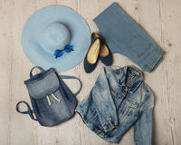 Denim fashion set - clothes, shoes and accessories. Selective focus Royalty Free Stock Photos