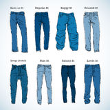 Denim Fit Hand Drawn Vector Set Royalty Free Stock Photos
