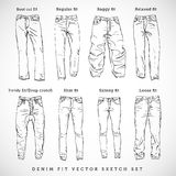 Denim Fit Hand Drawn Vector Sketch Set. Isolated Stock Images