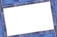 Denim frame. Isolated on white stock image