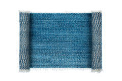 Denim frame folded in the form of manuscripts, on a white background Royalty Free Stock Photos