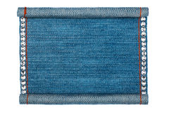 Denim frame folded in the form of manuscripts, on a white background Stock Photo