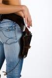 Denim, Gewehr und Hand Lizenzfreies Stockfoto