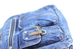 Denim hand bag Stock Images