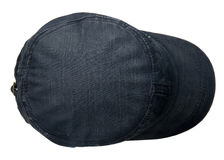 Denim  hat isolated on white background. Hat with a visor.blue h Royalty Free Stock Photos