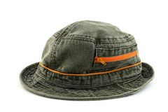 Denim hat with orange zipper Stock Images