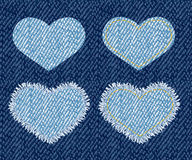 Denim heart patch. Stock Images