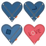 Denim hearts Royalty Free Stock Images