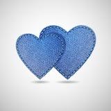 Denim hearts royalty free illustration