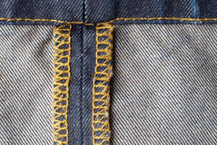 Denim inside detail. Blue denim cotton jeans inside material Royalty Free Stock Photo
