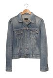 Denim jacket  on coat-hanger Royalty Free Stock Image