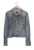 Denim jacket on coat-hanger Royalty Free Stock Image