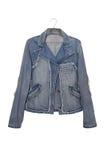 Denim jacket. Fashionable denim jacket, jeans wear royalty free stock photography