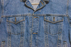 Denim jacket with pocket. Close up texture background Royalty Free Stock Images