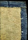 Denim Jacket Pocket Detail With Sheep Skin Texture Stock Photos