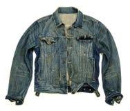 Denim jacket unbuttoned. Fashionable heavy wash denim jacket unbuttoned over white Royalty Free Stock Images