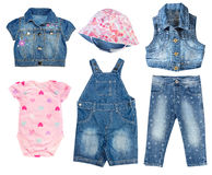 Denim jean baby toddler summer clothes set isolated. Stock Images
