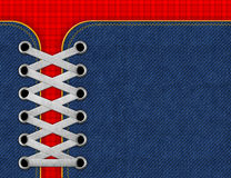 Denim jeans background with shoelaces.  royalty free stock photos