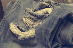 Denim jeans blue old torn of fashion design. stock images