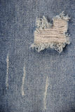 Denim jeans broken fabric texture Royalty Free Stock Photography