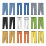 Denim Jeans Different Colors Set. Vector Stock Image