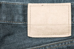 Denim jeans fabric texture background with blank leather label. Stock Image