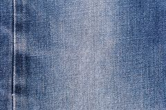 Denim jeans fabric texture background with seam for clothing, fashion design and industrial construction concept.  royalty free stock photos