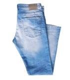 Denim jeans isolated on white nobody. Stock Photo