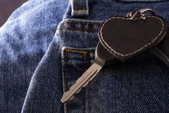 Denim Jeans with Key Chain Royalty Free Stock Photography
