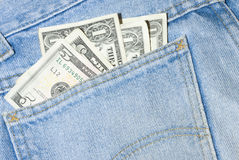 Denim jeans with money Stock Photo