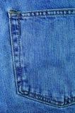 Denim Jeans Pocket. Back Pocket ona Pair of Denim Jeans Stock Photo