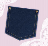 Denim jeans pocket with price or invitation label on the lace background.  Stock Photos