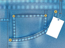 Denim jeans pocket. Vector illustration - Blue jeans pocket with blank label Stock Photography