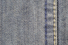 Denim jeans Stitching Detail Texture Background with copyspace. Royalty Free Stock Photos
