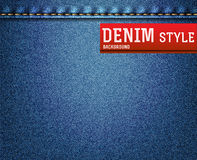 Denim, jeans texture. Denim, blue jeans texture with label. Vector illustration Royalty Free Stock Photo