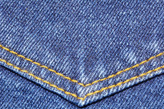 Denim jeans texture with pocket seams Royalty Free Stock Photography