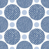 Denim jeans texture seamless pattern with circles. Fashion print for textile fabric or wrapping.  royalty free illustration