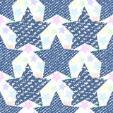 Denim jeans texture seamless pattern stars. Fashion print for fabric or wrapping royalty free illustration