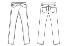 Denim jeans trousers ants template sketch Stock Image