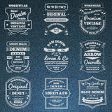Denim jeans typography logo emblems set Royalty Free Stock Image