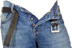 Denim jeans unbuttoned. Pair of denim jeans unbuttoned isolated Stock Photography