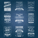 Denim jeans white typography labels Stock Image