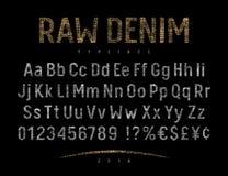 Denim Label Font 001 Royalty Free Stock Image