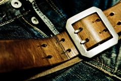 Denim and leather Stock Photos