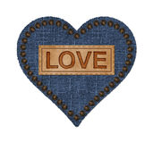 Denim and Leather Heart Stock Images