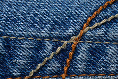 Denim Material. Close up to blue denim material/jeans royalty free stock images