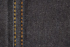 Denim material detail. Highly detailed texture - abstract blue jeans background with sew Stock Photo